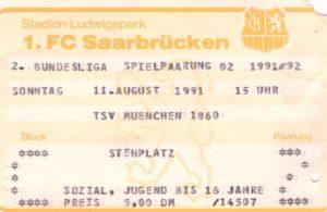 Saarbrücken TSV 1860 Ticket 1991/92