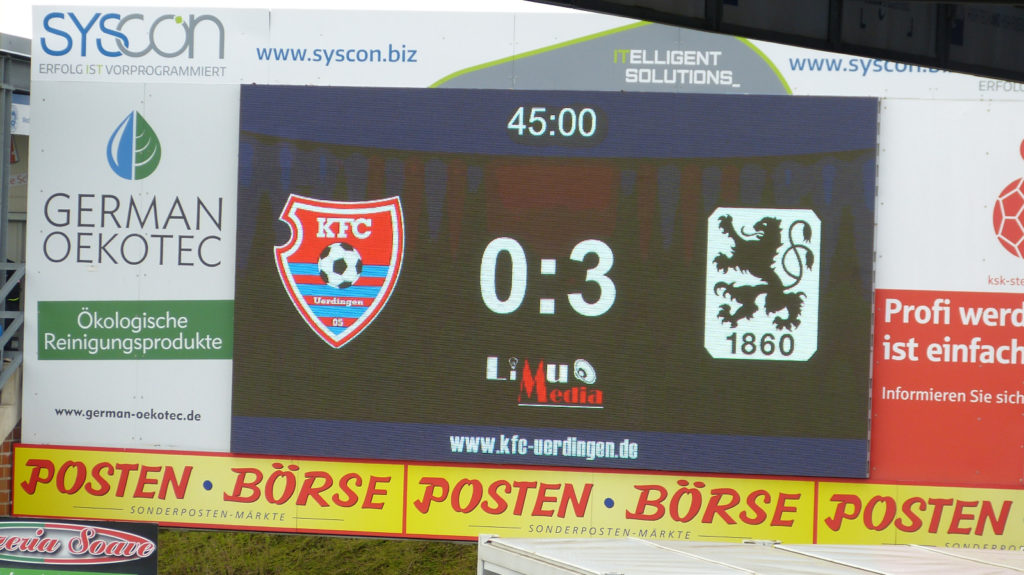 KFC Uerdingen liegt gegen TSV 1860 München 0:3 zurück