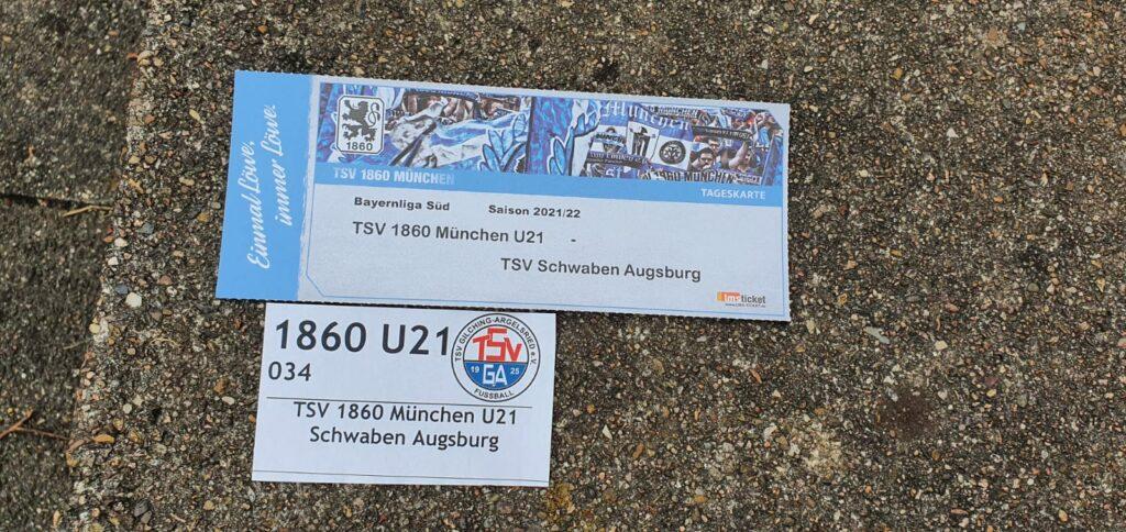 Eintrittskarte TSV 1860 II gegen TSV Schwaben Augsburg 25.07.2021 Bayernliga Süd