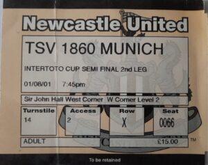 Newcastle TSV 1860 Munich Ticket
